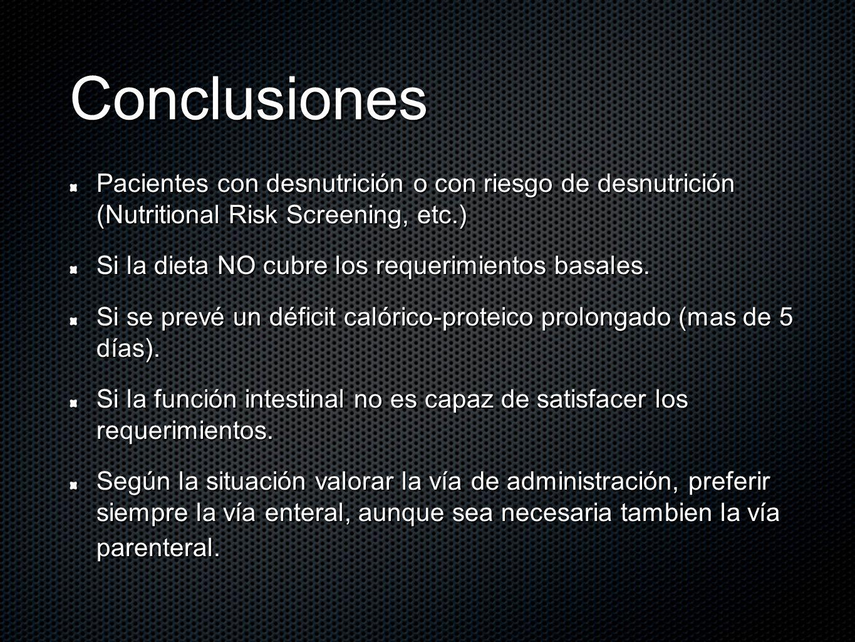 Conclusiones Pacientes con desnutrición o con riesgo de desnutrición (Nutritional Risk Screening, etc.)