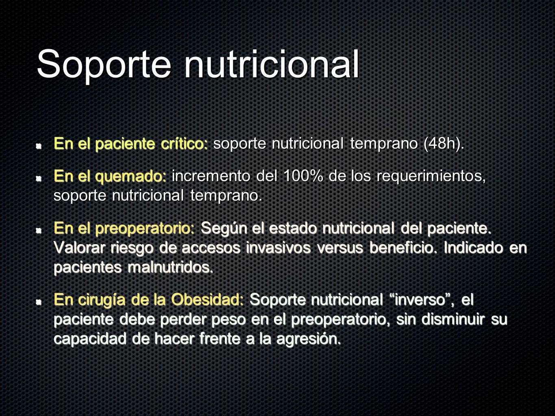 Soporte nutricional En el paciente crítico: soporte nutricional temprano (48h).