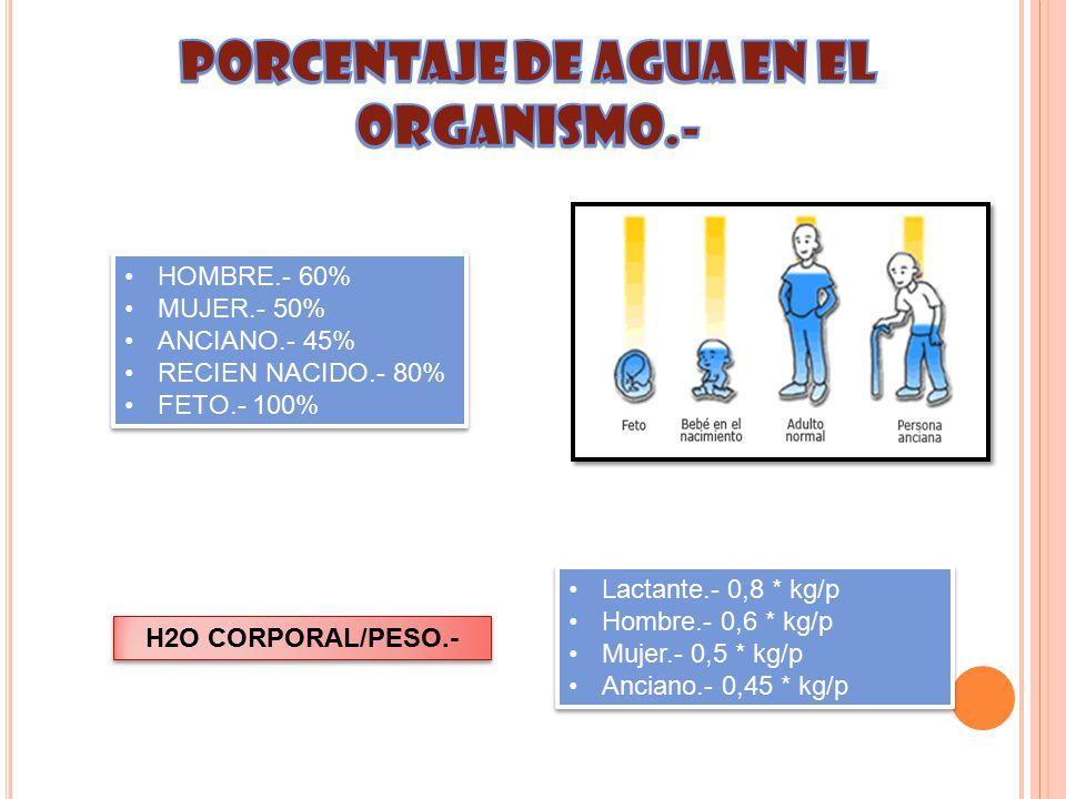 PORCENTAJE DE AGUA EN EL ORGANISMO.-