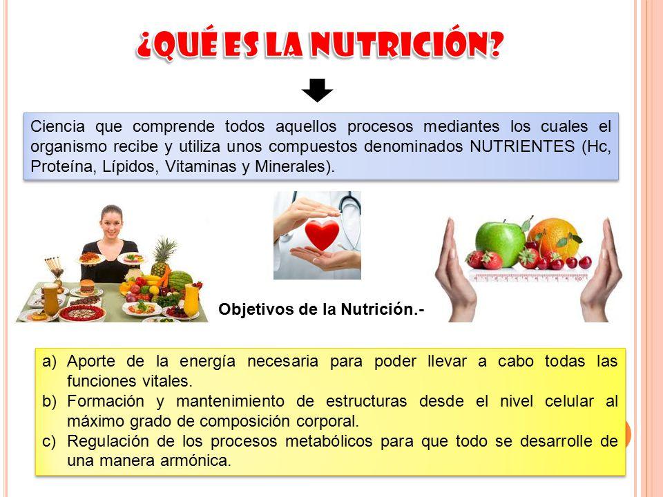 Objetivos de la Nutrición.-