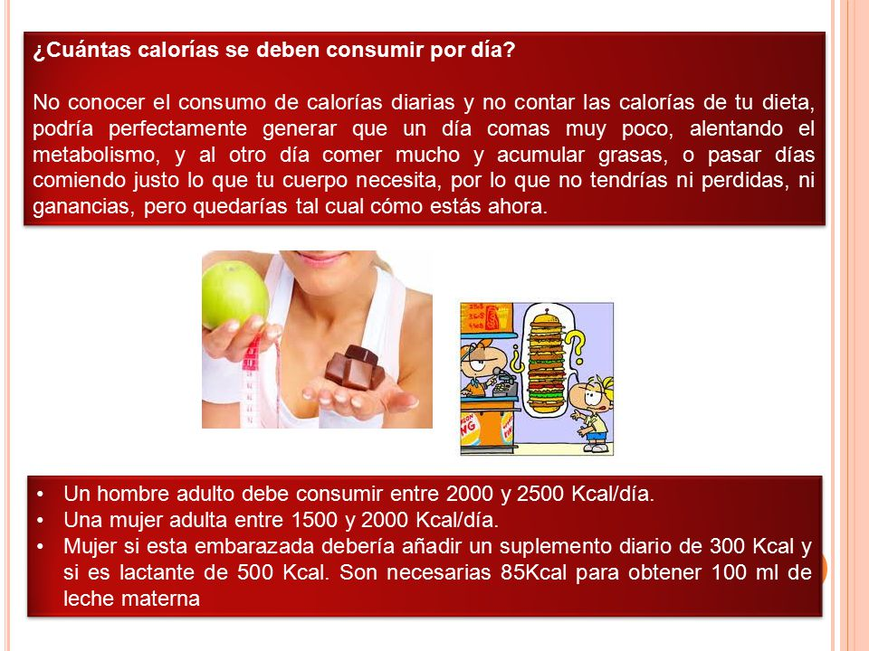 ¿Cuántas calorías se deben consumir por día