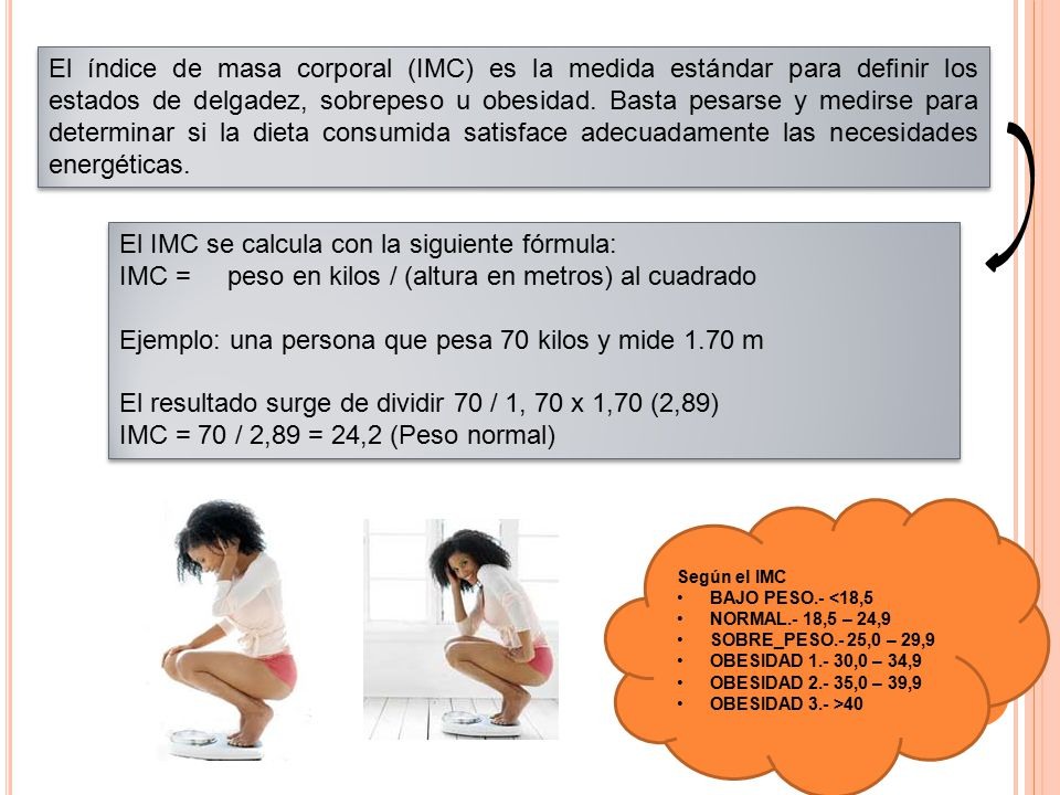 El IMC se calcula con la siguiente fórmula:
