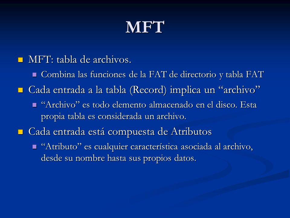 MFT MFT: tabla de archivos.