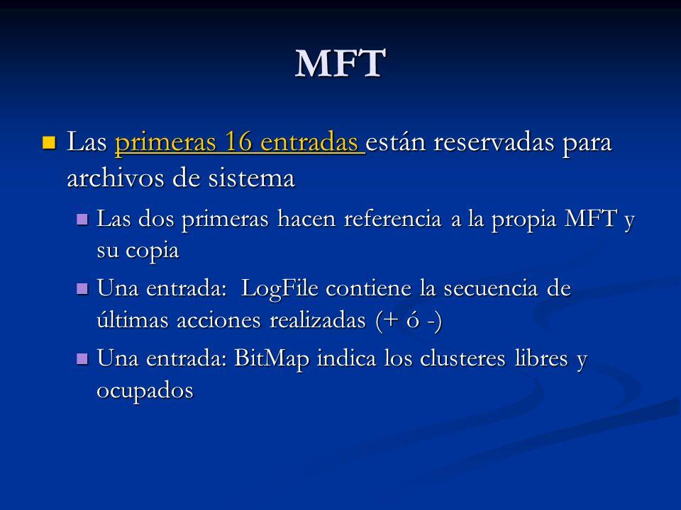 MFT Las primeras 16 entradas están reservadas para archivos de sistema