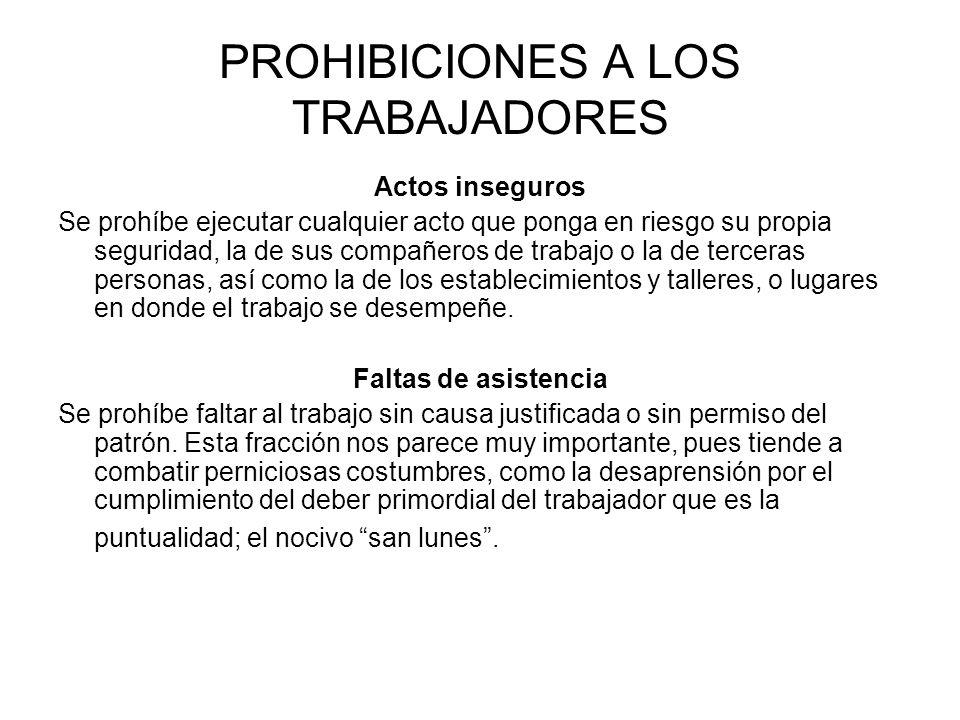 PROHIBICIONES A LOS TRABAJADORES