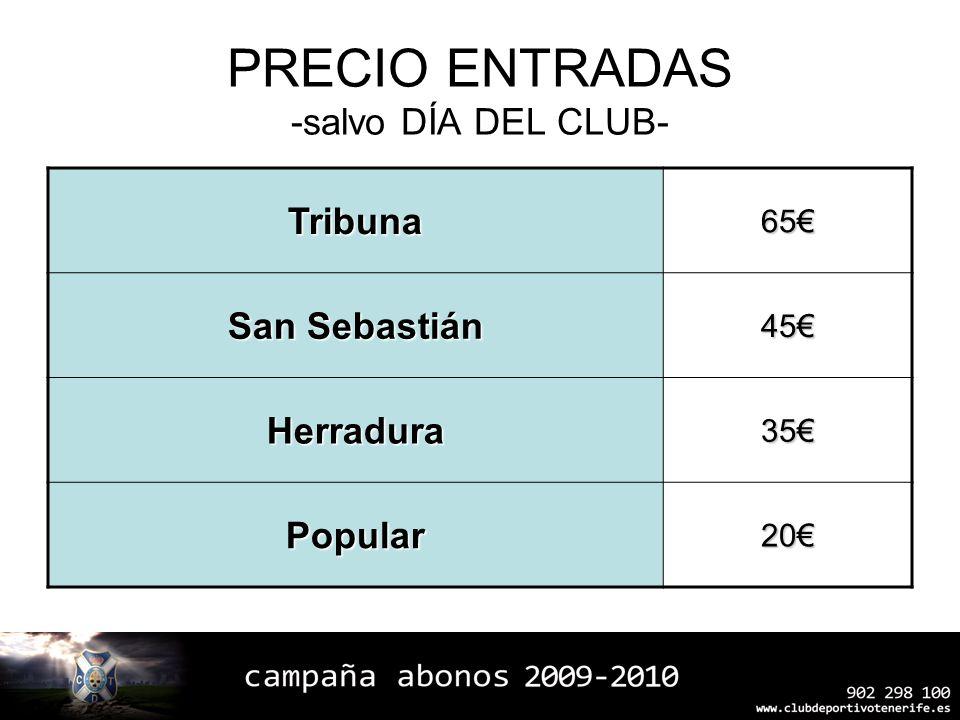PRECIO ENTRADAS -salvo DÍA DEL CLUB-