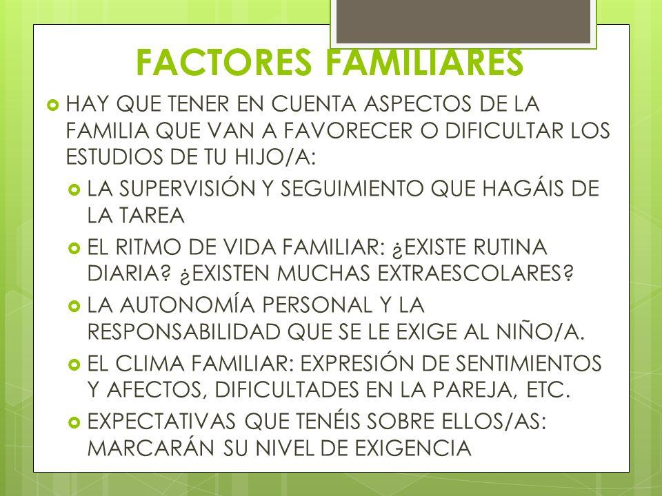 FACTORES FAMILIARES HAY QUE TENER EN CUENTA ASPECTOS DE LA FAMILIA QUE VAN A FAVORECER O DIFICULTAR LOS ESTUDIOS DE TU HIJO/A: