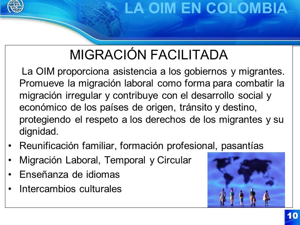 LA OIM EN COLOMBIA MIGRACIÓN FACILITADA