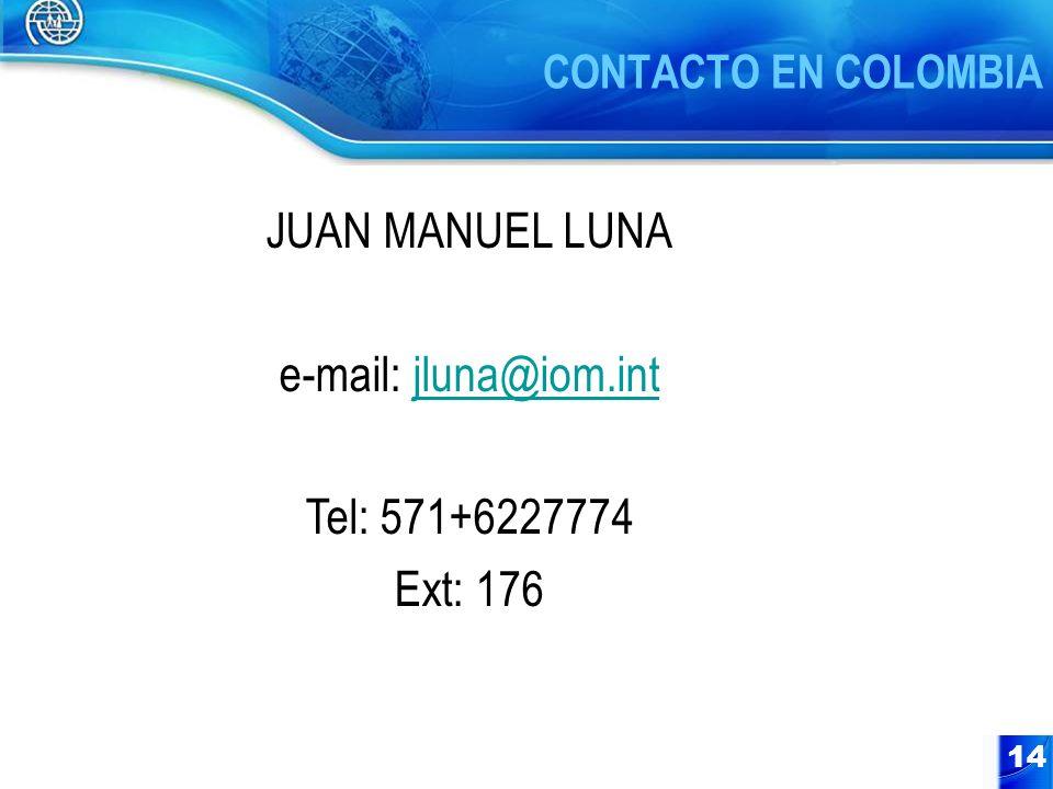 JUAN MANUEL LUNA e-mail: jluna@iom.int Tel: 571+6227774 Ext: 176