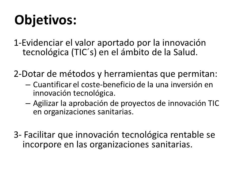 Objetivos: 1-Evidenciar el valor aportado por la innovación tecnológica (TIC´s) en el ámbito de la Salud.