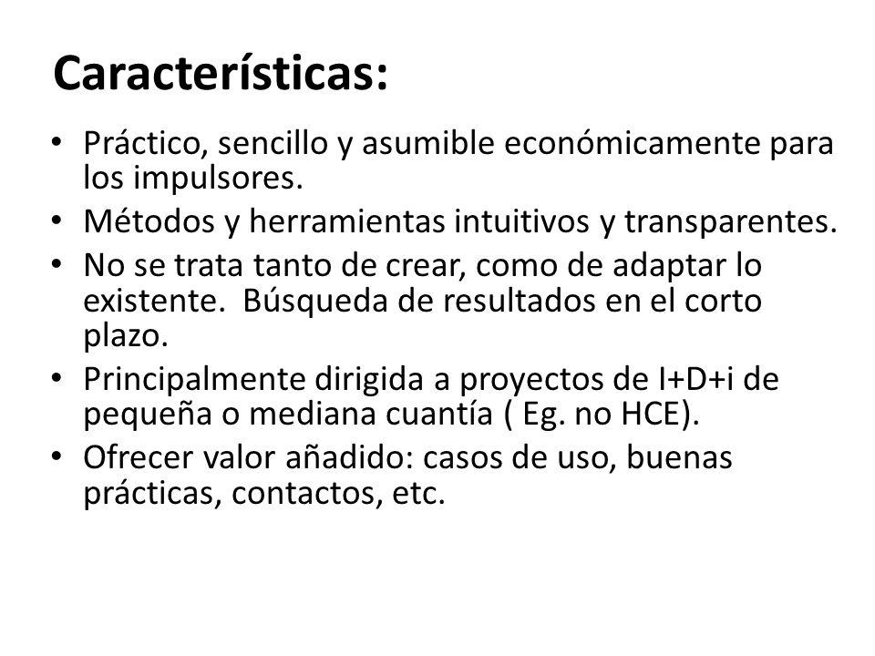 Características: Práctico, sencillo y asumible económicamente para los impulsores. Métodos y herramientas intuitivos y transparentes.