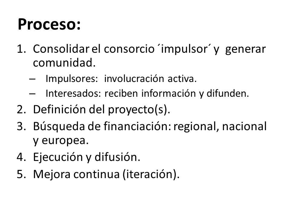 Proceso: Consolidar el consorcio ´impulsor´ y generar comunidad.