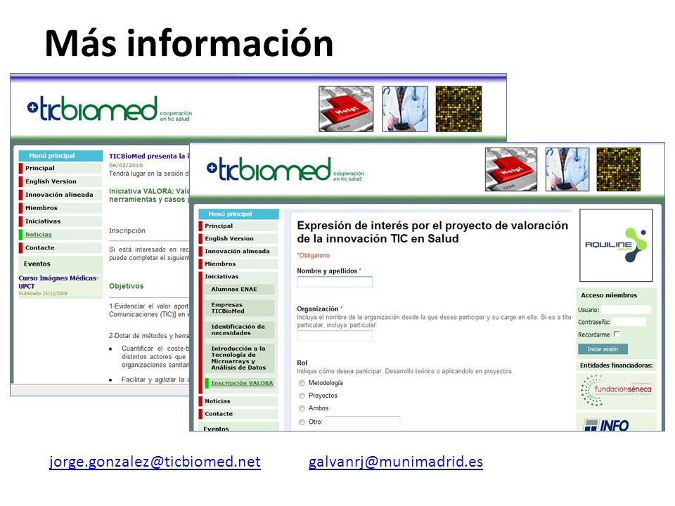 Más información jorge.gonzalez@ticbiomed.net galvanrj@munimadrid.es