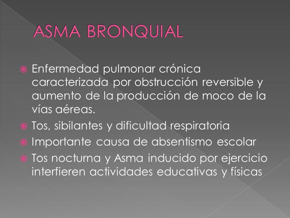 ASMA BRONQUIALEnfermedad pulmonar crónica caracterizada por obstrucción reversible y aumento de la producción de moco de la vías aéreas.