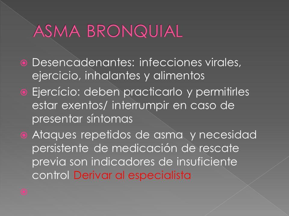 ASMA BRONQUIALDesencadenantes: infecciones virales, ejercicio, inhalantes y alimentos.