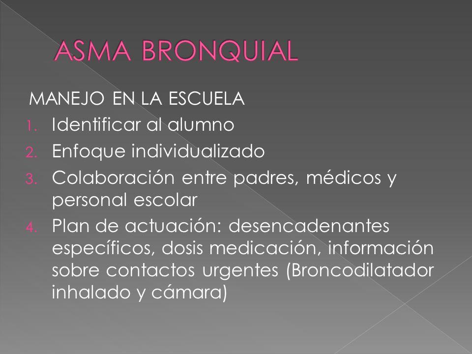 ASMA BRONQUIAL MANEJO EN LA ESCUELA Identificar al alumno
