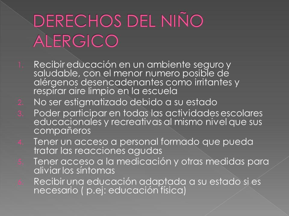 DERECHOS DEL NIÑO ALERGICO