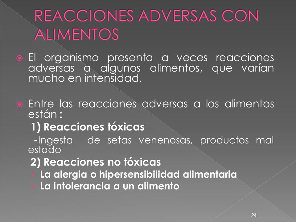 REACCIONES ADVERSAS CON ALIMENTOS