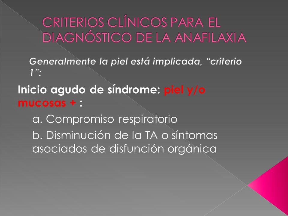 CRITERIOS CLÍNICOS PARA EL DIAGNÓSTICO DE LA ANAFILAXIA