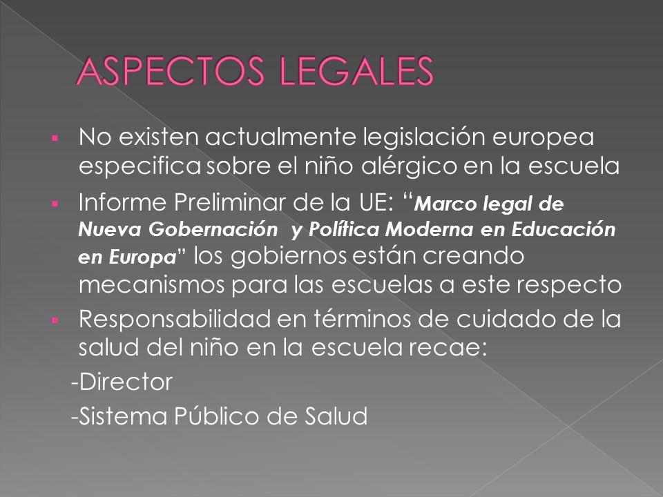 ASPECTOS LEGALES No existen actualmente legislación europea especifica sobre el niño alérgico en la escuela.