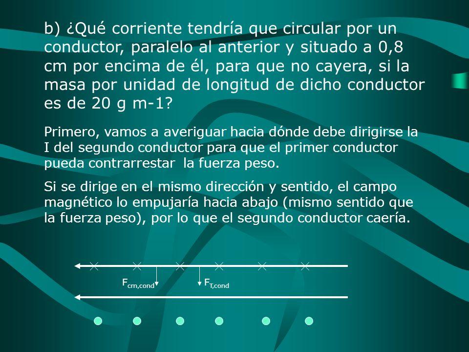 b) ¿Qué corriente tendría que circular por un conductor, paralelo al anterior y situado a 0,8 cm por encima de él, para que no cayera, si la masa por unidad de longitud de dicho conductor es de 20 g m-1