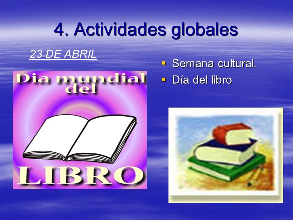 4. Actividades globales 23 DE ABRIL Semana cultural. Día del libro