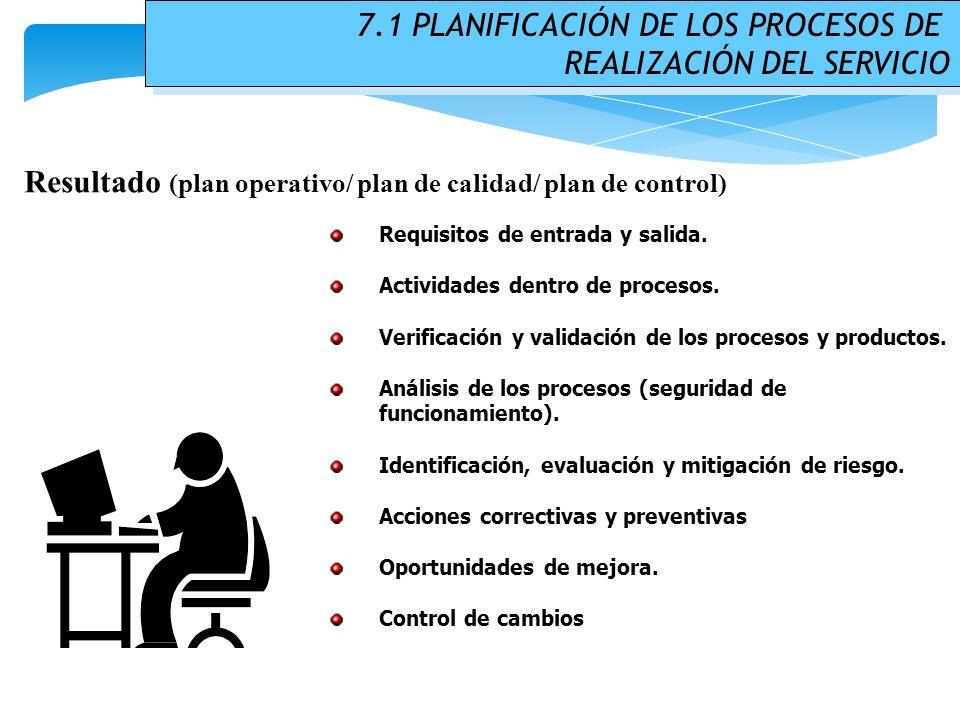 7.1 PLANIFICACIÓN DE LOS PROCESOS DE REALIZACIÓN DEL SERVICIO