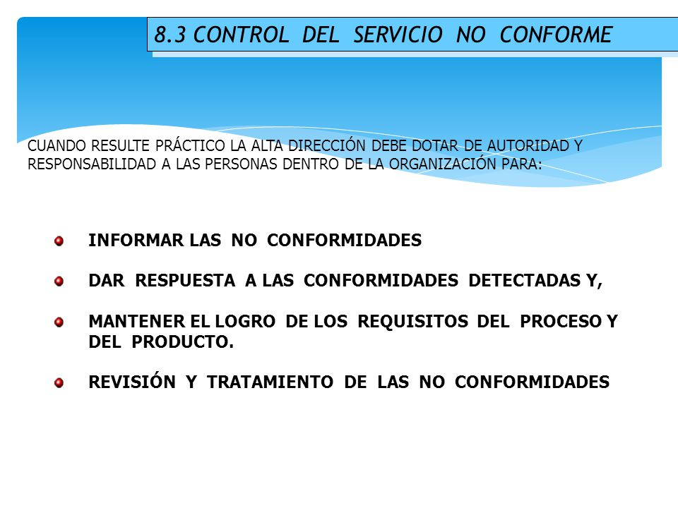 8.3 CONTROL DEL SERVICIO NO CONFORME