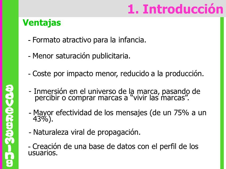 1. Introducción Ventajas - Formato atractivo para la infancia.