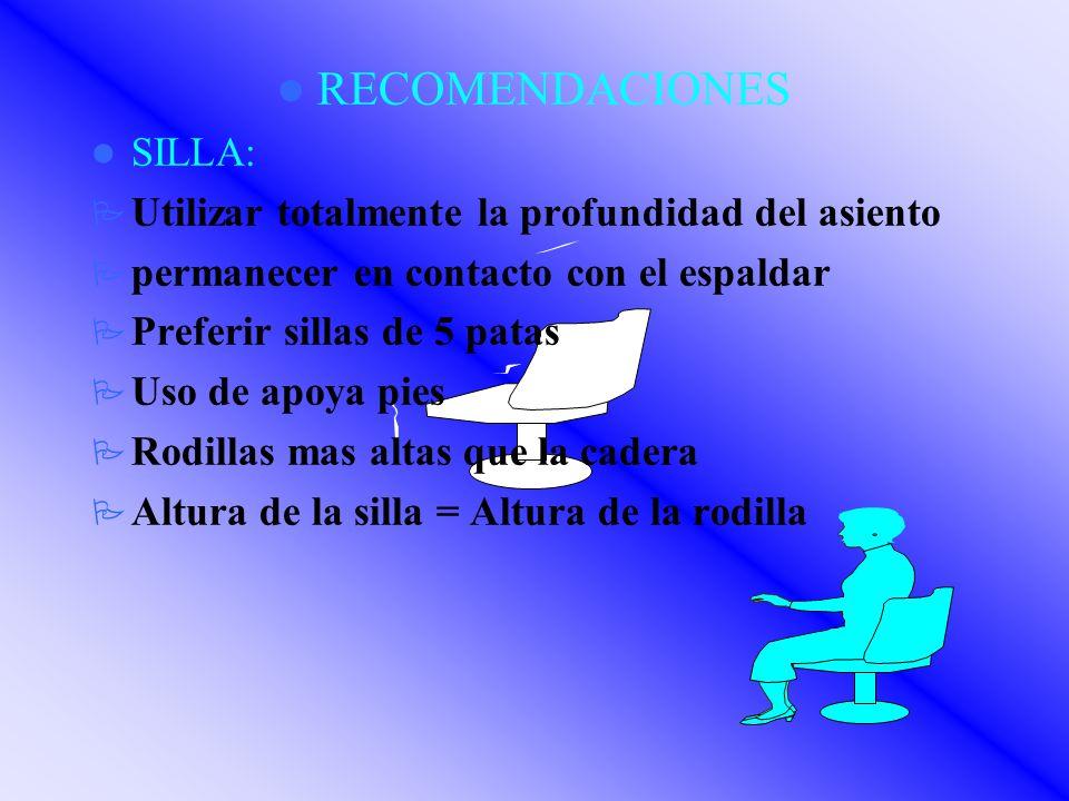 RECOMENDACIONES SILLA: Utilizar totalmente la profundidad del asiento