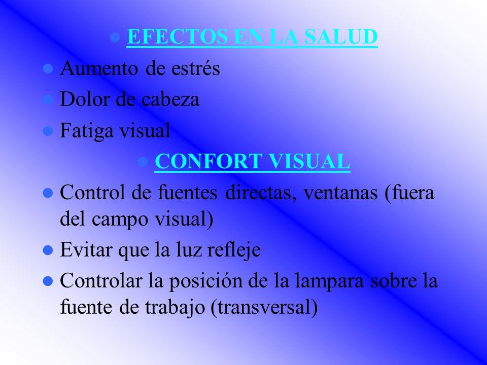EFECTOS EN LA SALUD Aumento de estrés. Dolor de cabeza. Fatiga visual. CONFORT VISUAL.