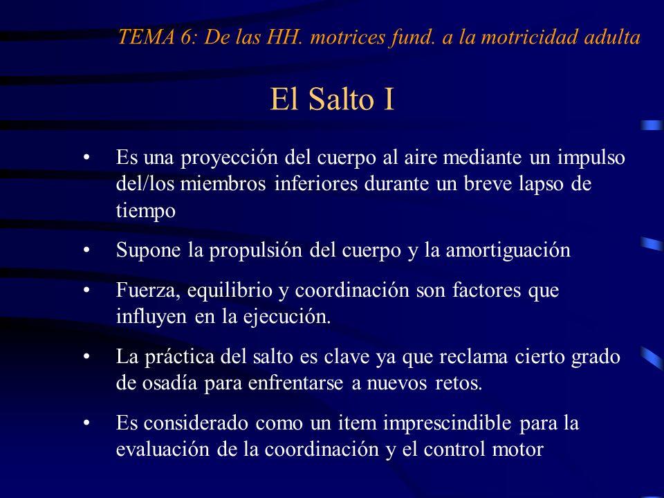 El Salto I TEMA 6: De las HH. motrices fund. a la motricidad adulta