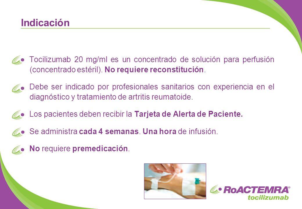 Indicación Tocilizumab 20 mg/ml es un concentrado de solución para perfusión (concentrado estéril). No requiere reconstitución.