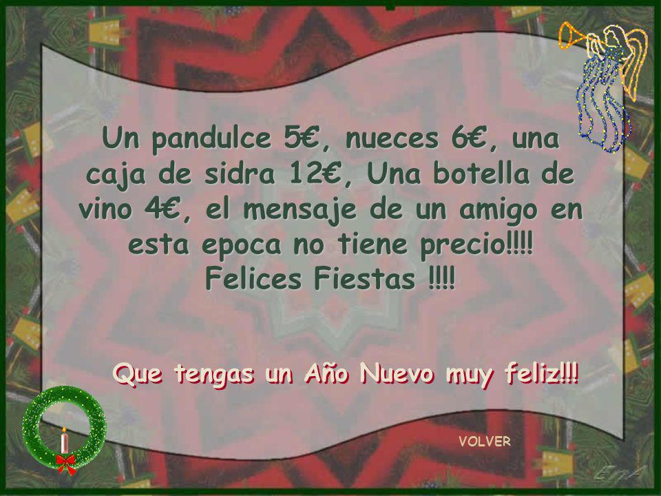 Un pandulce 5€, nueces 6€, una caja de sidra 12€, Una botella de vino 4€, el mensaje de un amigo en esta epoca no tiene precio!!!! Felices Fiestas !!!!