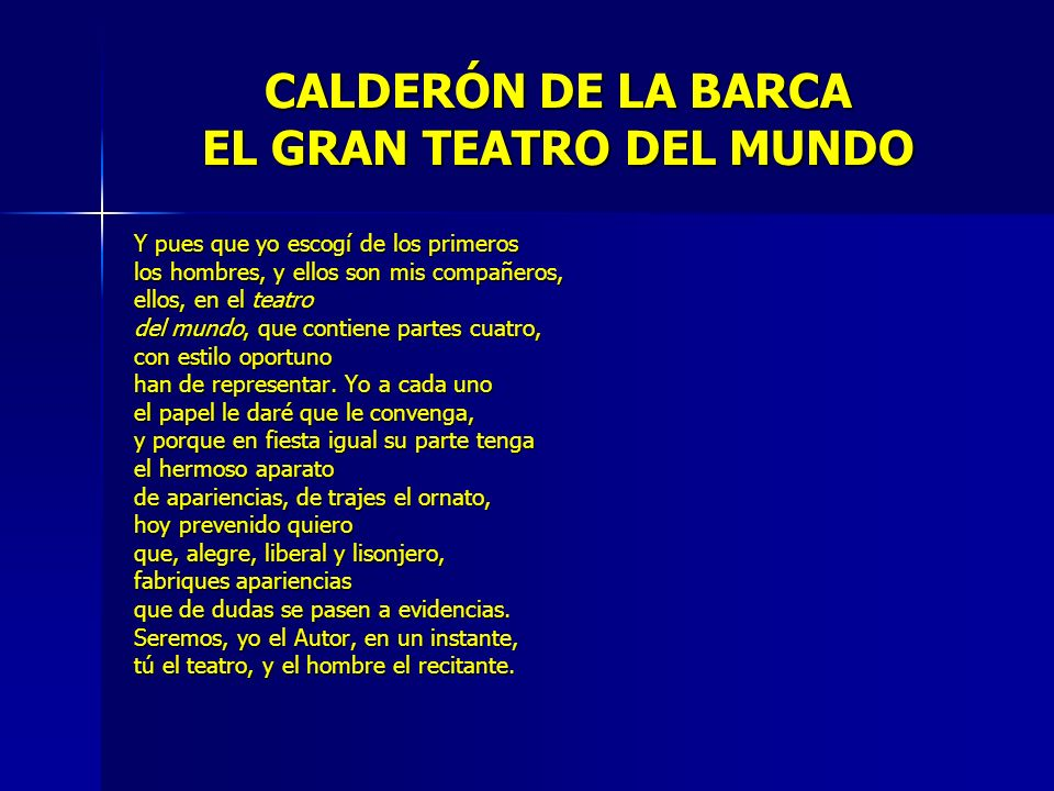 CALDERÓN DE LA BARCA EL GRAN TEATRO DEL MUNDO
