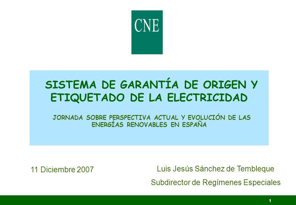 SISTEMA DE GARANTÍA DE ORIGEN Y ETIQUETADO DE LA ELECTRICIDAD