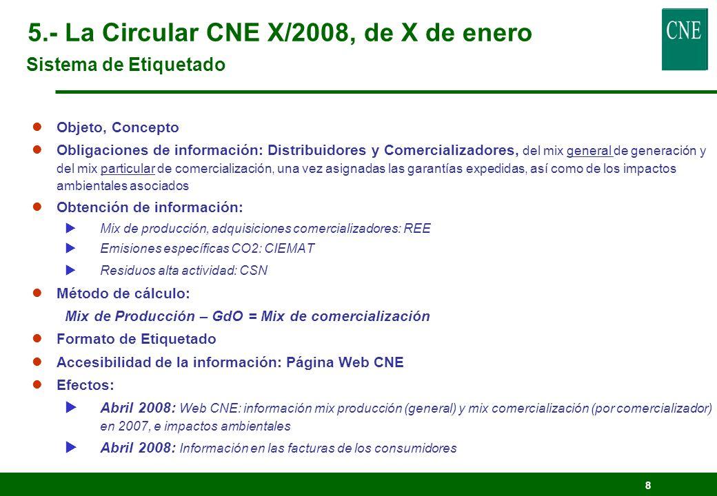 5.- La Circular CNE X/2008, de X de enero