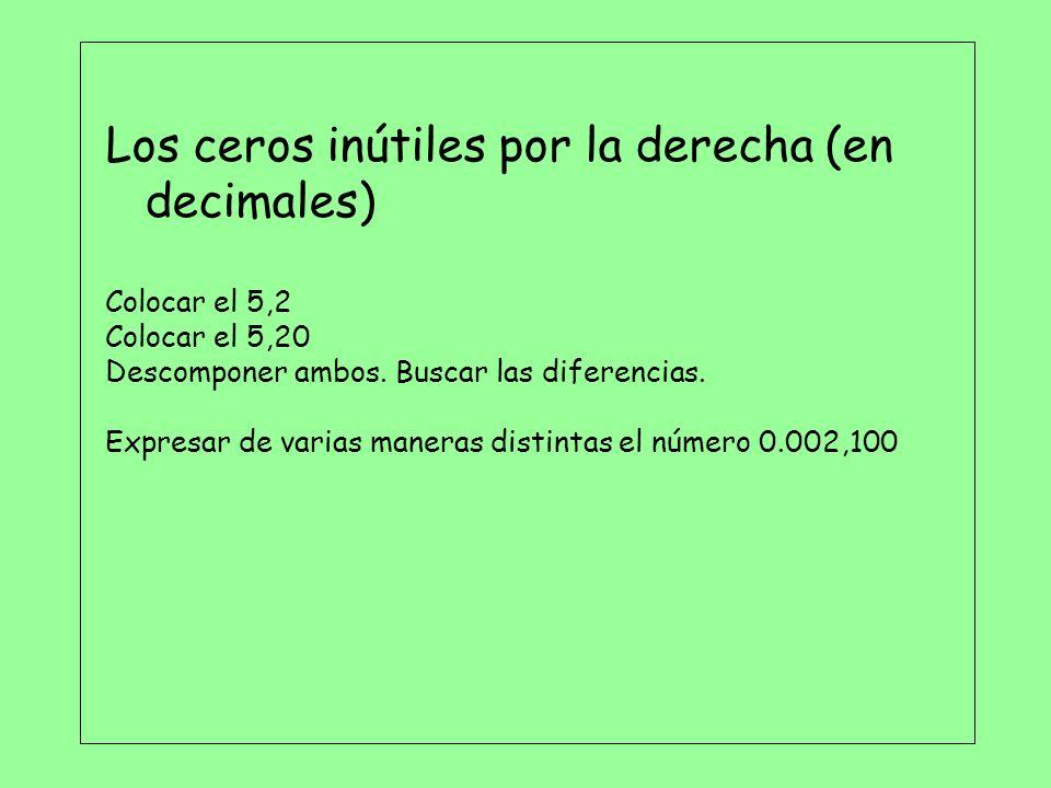 Los ceros inútiles por la derecha (en decimales)