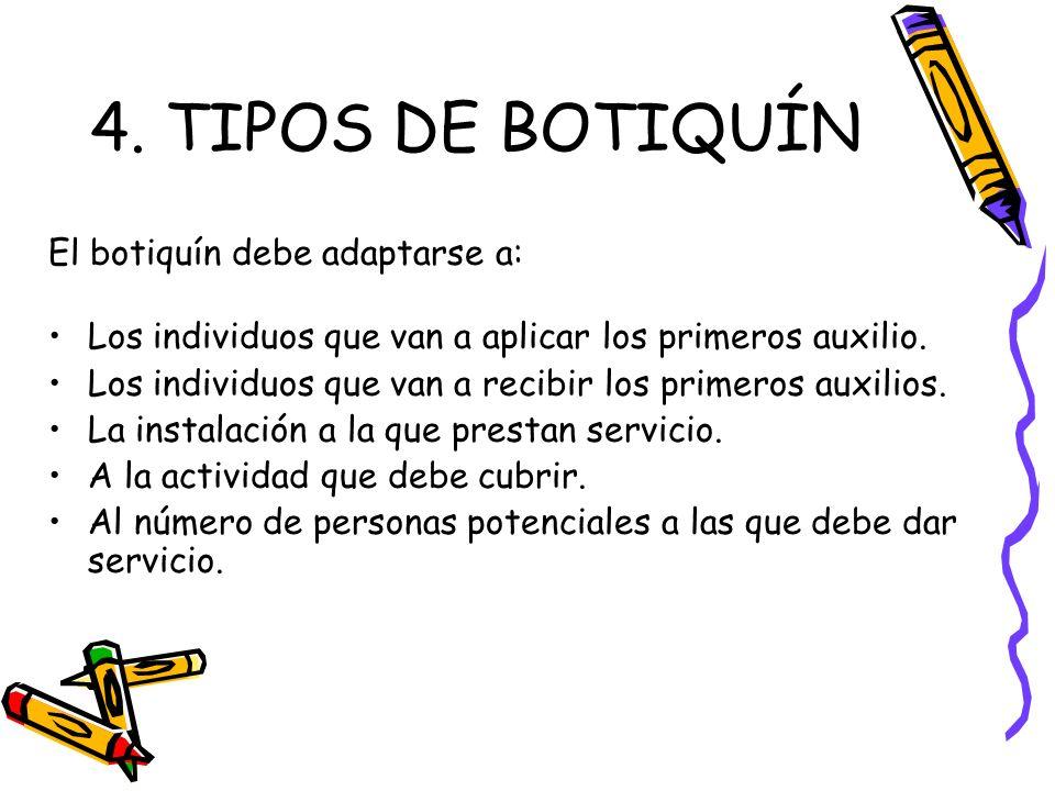 4. TIPOS DE BOTIQUÍN El botiquín debe adaptarse a: