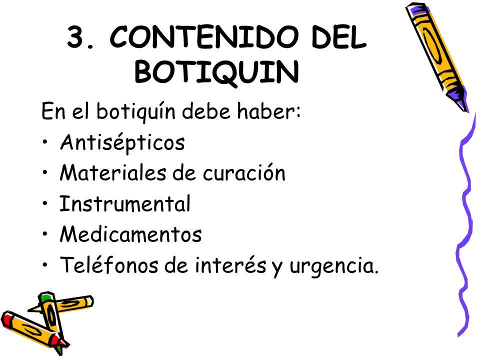 3. CONTENIDO DEL BOTIQUIN
