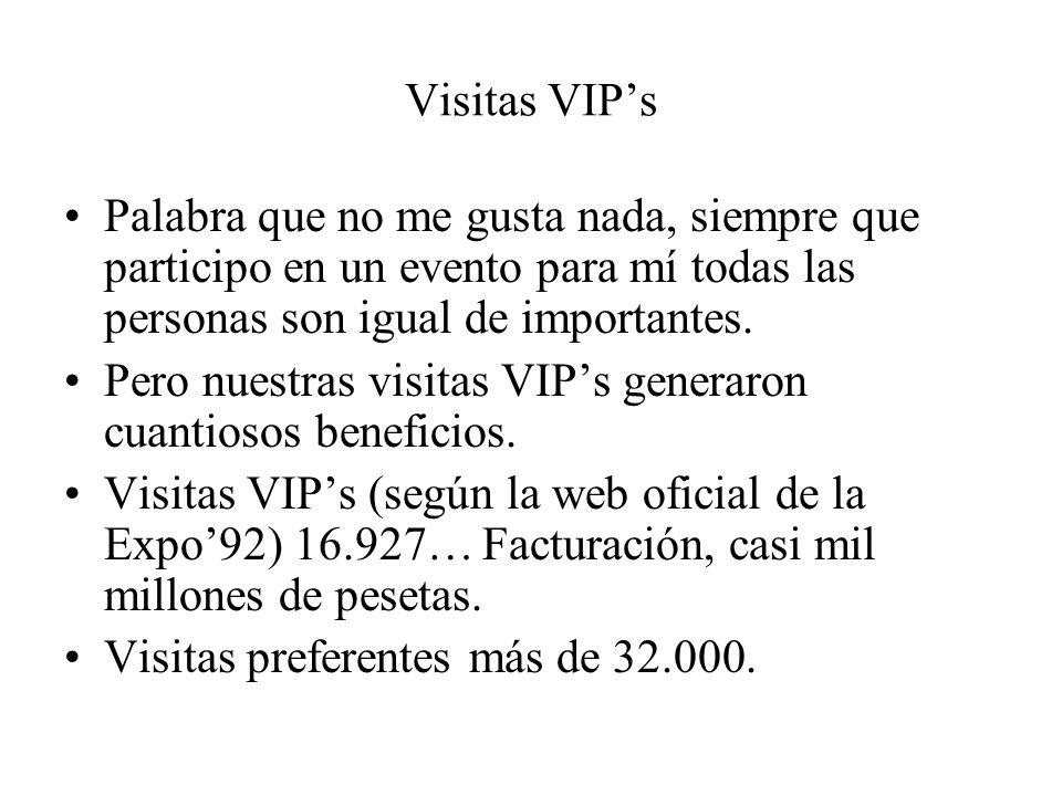 Visitas VIP's Palabra que no me gusta nada, siempre que participo en un evento para mí todas las personas son igual de importantes.