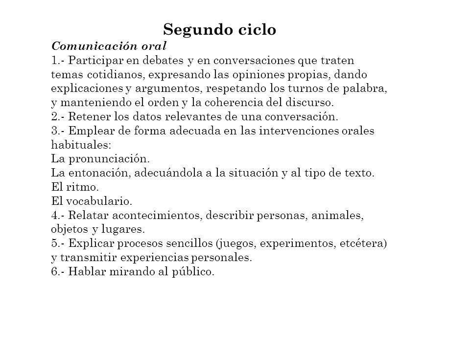 Segundo ciclo Comunicación oral