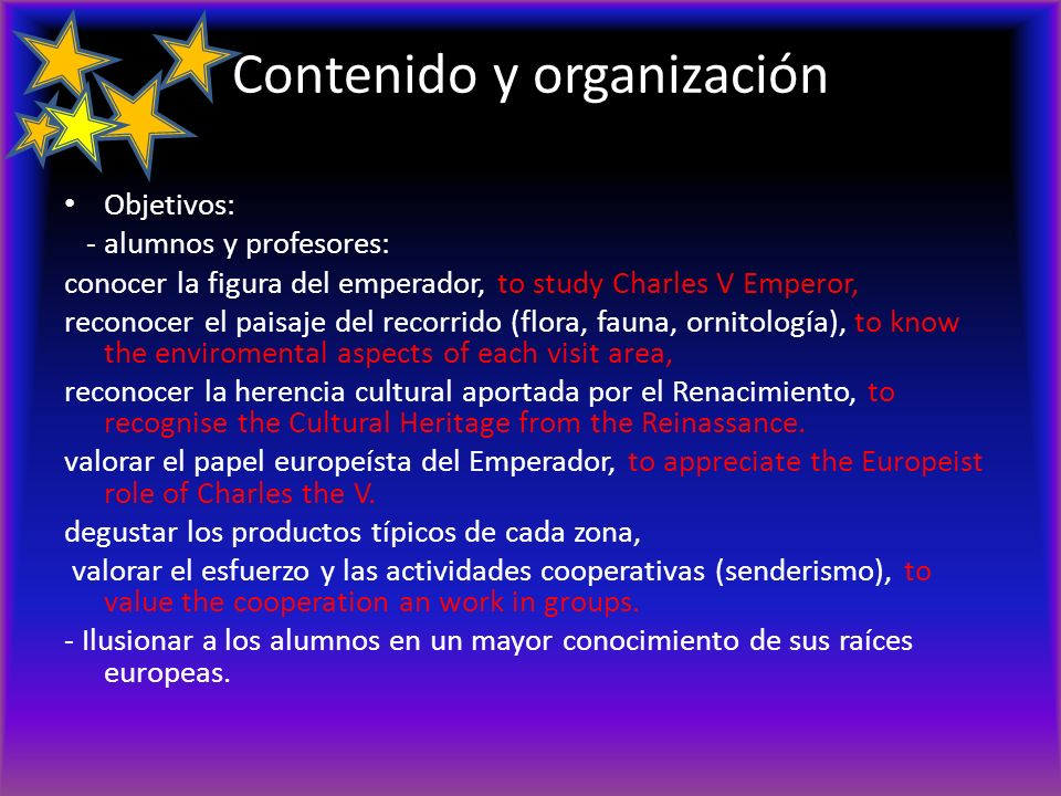 Contenido y organización