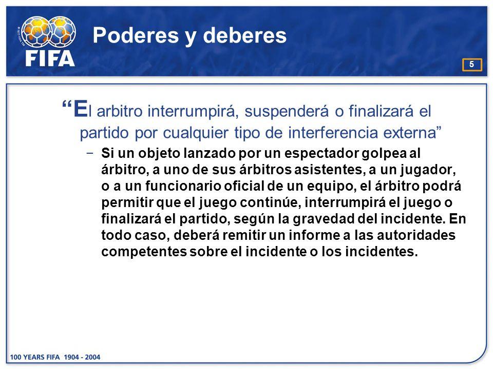 Poderes y deberes El arbitro interrumpirá, suspenderá o finalizará el partido por cualquier tipo de interferencia externa