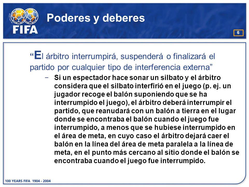 Poderes y deberes El árbitro interrumpirá, suspenderá o finalizará el partido por cualquier tipo de interferencia externa