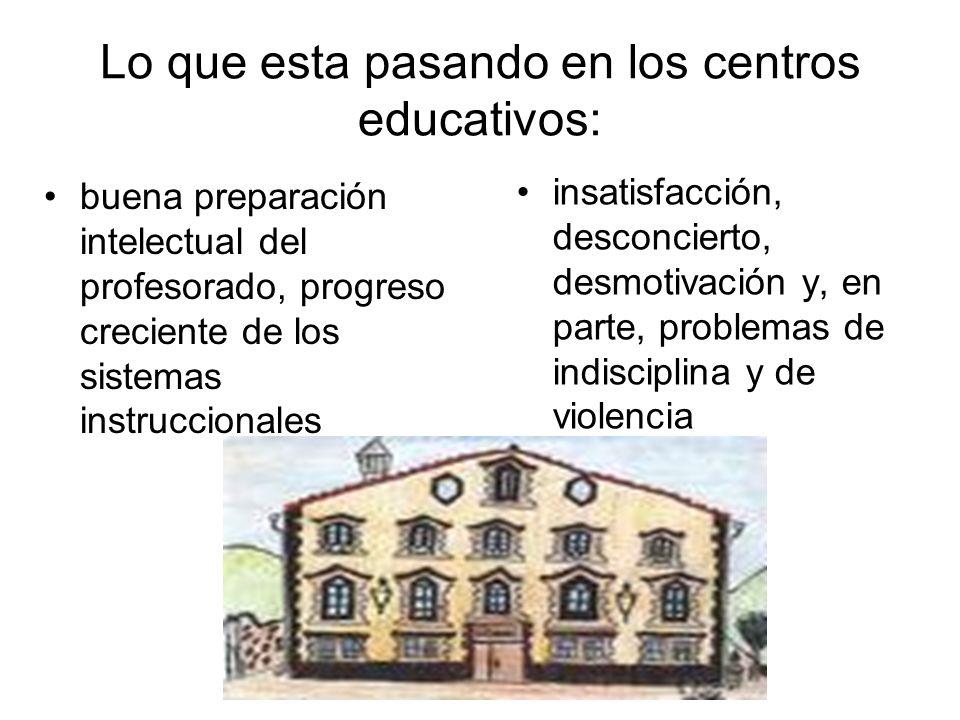 Lo que esta pasando en los centros educativos: