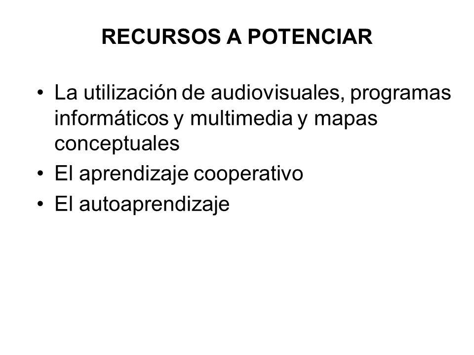 RECURSOS A POTENCIARLa utilización de audiovisuales, programas informáticos y multimedia y mapas conceptuales.