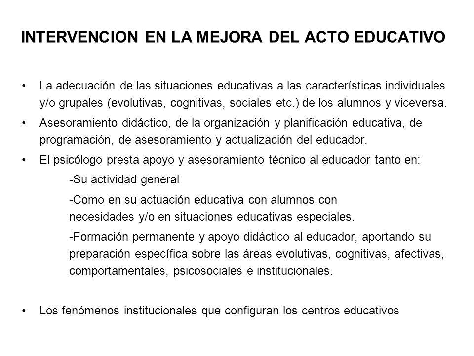INTERVENCION EN LA MEJORA DEL ACTO EDUCATIVO