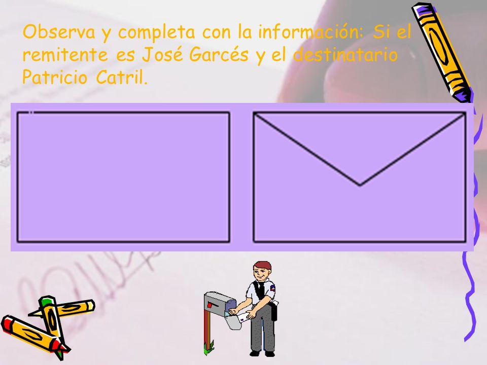 Observa y completa con la información: Si el remitente es José Garcés y el destinatario Patricio Catril.
