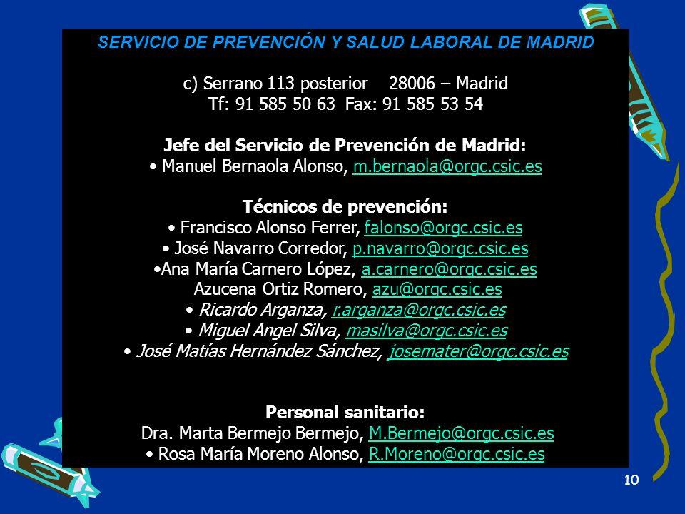 SERVICIO DE PREVENCIÓN Y SALUD LABORAL DE MADRID